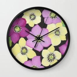 Helleborus floral pattern Wall Clock