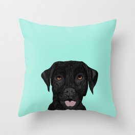 Black Labrador pet portrait dog breed art print cute dog gifts for black lab owners Throw Pillow