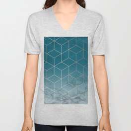 Gold Geometric Cubes Teal Marble Deco Design Unisex V-Neck