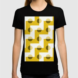 Geometric Zig Zags & Circles Horizon Pattern 6 - Sun shine Yellow T-shirt