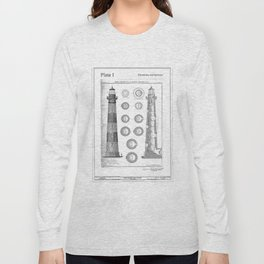 Vintage Bodie Island Lighthouse Diagram Long Sleeve T-shirt
