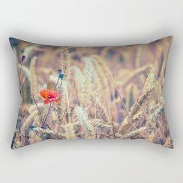 Wild Poppy in the Wheat Field Rectangular Pillow