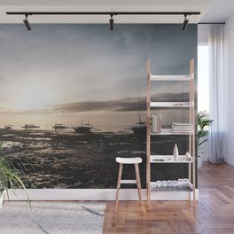 Sunrise Boats Wall Mural