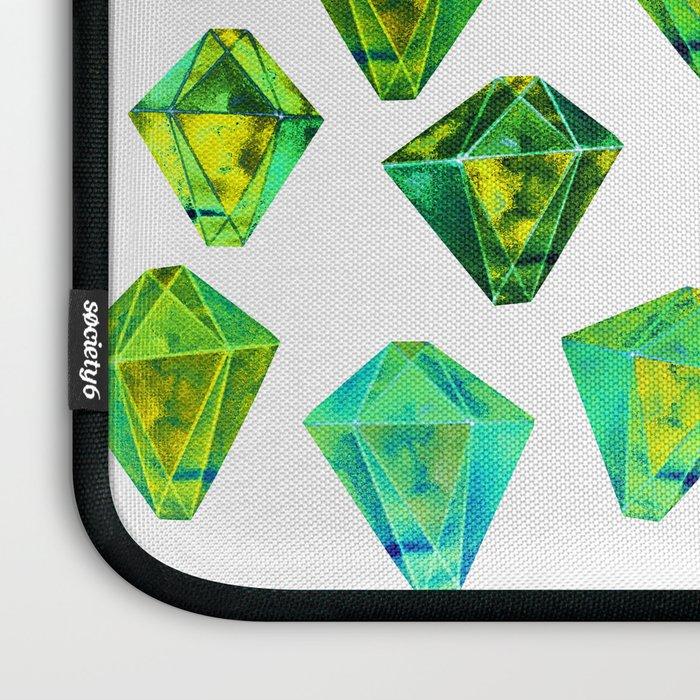 Green gemstone pattern. Laptop Sleeve