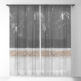 Black and White Marble Gold Glitter Stripe Glam #1 #minimal #decor #art #society6 Sheer Curtain