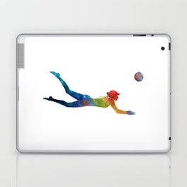 Woman beach volley ball player 01 in watercolor Laptop & iPad Skin