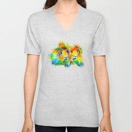 guinea pig couple splatter watercolor Unisex V-Neck