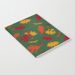 Fall Leaves and Acorns on Green Notebook