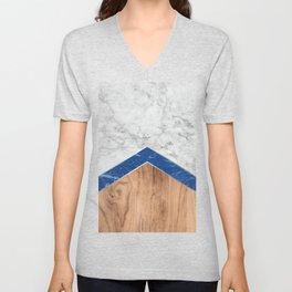 Arrows - White Marble, Blue Granite & Wood #436 Unisex V-Neck