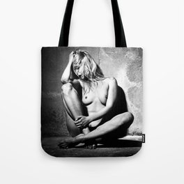 Lonely Beauty - Nude woman alone in a dungeon or cellar Tote Bag