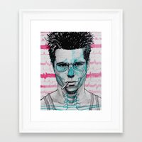 tyler spangler Framed Art Prints featuring Tyler Durden by Bronsolo Illustration
