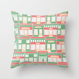 Pattern with colorful houses Throw Pillow