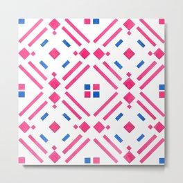 Modern hand painted geometrical pink blue watercolor Metal Print