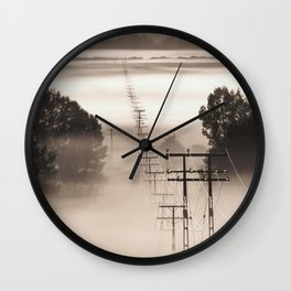 Power lines in the mist Wall Clock
