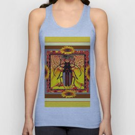 BEETLE & YELLOW SUNFLOWERS YELLOW DESIGN Unisex Tank Top