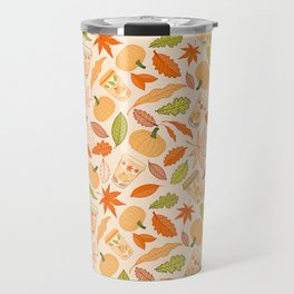 Pumpkin Spice Season Latte and Fall Leaves Pattern Travel Mug