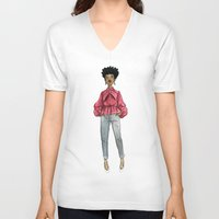 fancy V-neck T-shirts featuring Fancy by Coily and Cute
