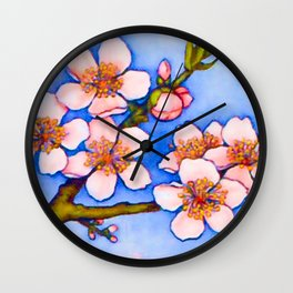 Branch of an almond tree in Spring Wall Clock