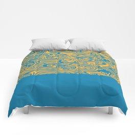 Liquid Swirl - Hawaiian Surf Blue and Citrus Yellow Comforters