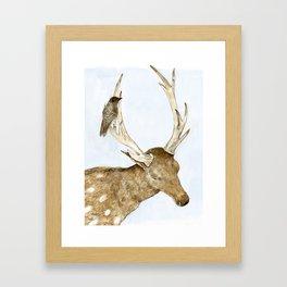 Deer and Bird Framed Art Print