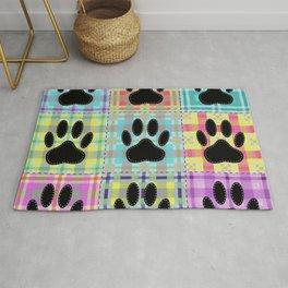 Colorful Quilt Dog Paw Print Drawing Rug