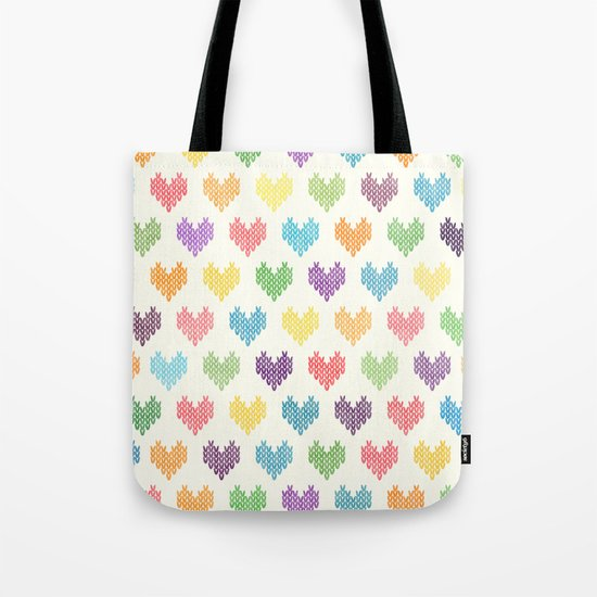 Colorful Knitted Hearts II Tote Bag