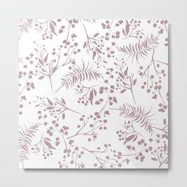 Mauve pink white elegant modern floral Metal Print