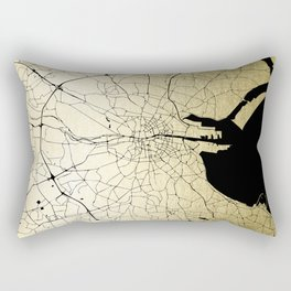 Dublin Ireland Green on White Street Map Rectangular Pillow