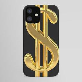 Gold Dollar Sign Black Background iPhone Case