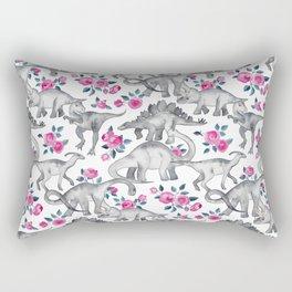 Dinosaurs and Roses - white Rectangular Pillow