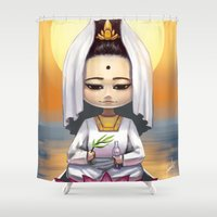 budi satria kwan Shower Curtains featuring Kwan Yin  by Lurraeh Somohano