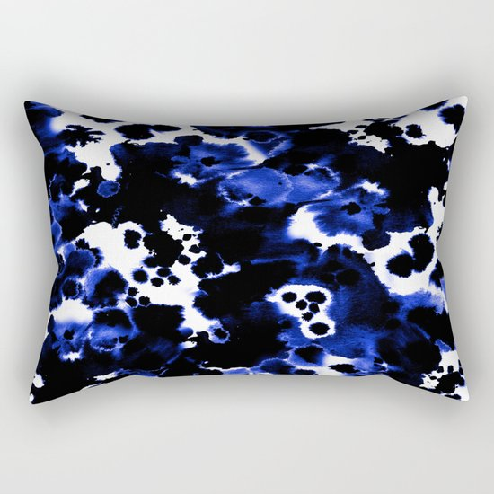 Watercolor indigo india ink boho girly trendy abstract painting brushstrokes dorm college painterly Rectangular Pillow