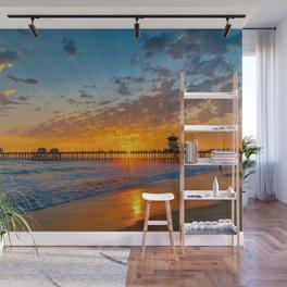 Painted Sky Over Huntington Beach Pier. Wall Mural