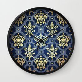 Gold oriental ornament on blue background. Filigree arabian ethnic motifs.  Wall Clock