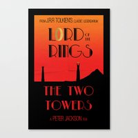 lotr Canvas Prints featuring LOTR The Two Towers Minimalist Poster by Sean Breeding Arthouse