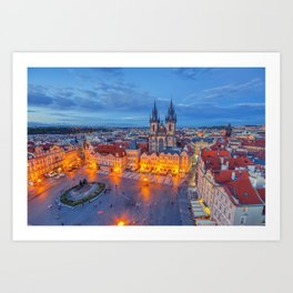 Prague old town square and church of Mother of God before Tyn in Prague, Czech Republic. Art Print