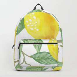 Lemons and Leaves Watercolor Illustration, The Branches Of The Lemon Tree, Watercolor Lemon Tree Backpack