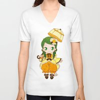 chibi V-neck T-shirts featuring Chibi Canaria by Yue Graphic Design