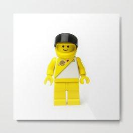 Yellow astronaut Minifig with his visor up Metal Print