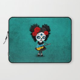 Day of the Dead Girl Playing Ukrainian Flag Guitar Laptop Sleeve