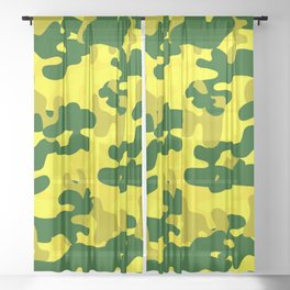 Camouflage (Yellow) Sheer Curtain