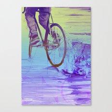 Skidding Bike Canvas Print