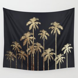 Glamorous Gold Tropical Palm Trees on Black Wall Tapestry
