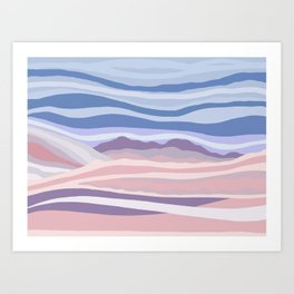 Abstract Pink and Blue Mountain Waves Art Print