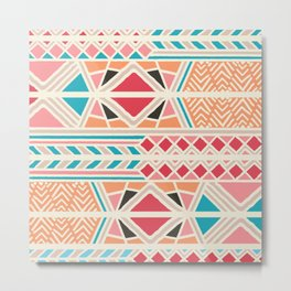 Tribal ethnic geometric pattern 025 Metal Print
