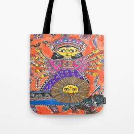 Madhubani - Orange Durga Tote Bag