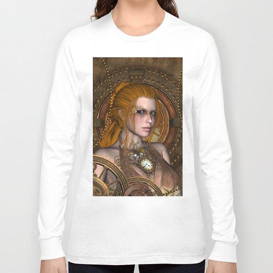Steampunk, amazing steampunk women Long Sleeve T-shirt