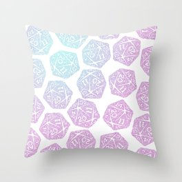 d20 pattern dice gradient pastel - icosahedron Throw Pillow