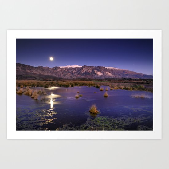 moonlight over the mountains Art Print