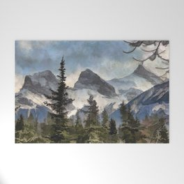 The Three Sisters - Canadian Rocky Mountains Welcome Mat